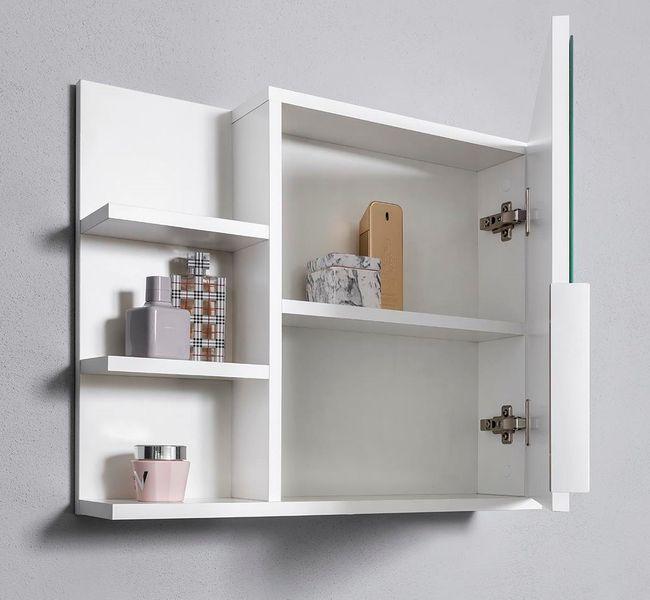 Biała szafka z lustrem do łazienki lewa, z 3 półkami, nowa zdjęcie 5