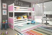 Łóżko meble dla dzieci drewniane Mateusz 190x80 piętrowe 3osobowe zdjęcie 6