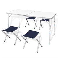 Lumarko Składany stół kempingowy 4 krzesła i regulowana wysokość 120 x 60 cm