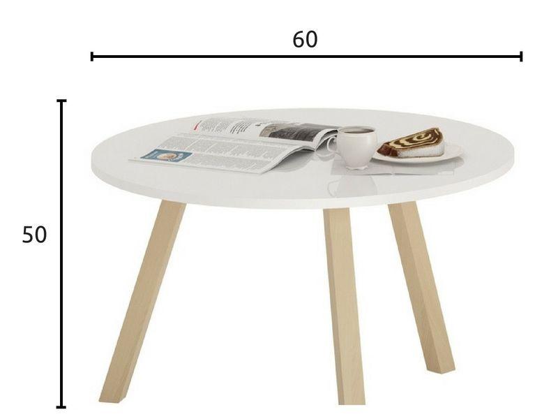 Skandynawski stolik kawowy KOPPLA, biały, ława zdjęcie 4