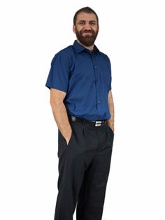 47/48 - 3XL/4XL GRANATOWA koszula męska z krótkim rękawem duże rozmiary