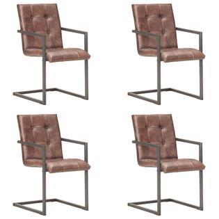 Lumarko Krzesła stołowe, wspornikowe, 4 szt., brąz, skóra naturalna