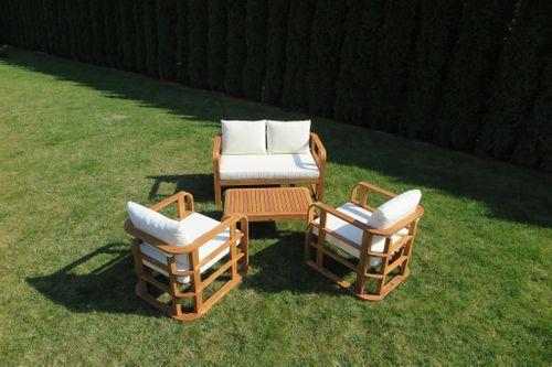 Meble ogrodowe drewniane zestaw z poduchami  Budapeszt Ratanland na Arena.pl