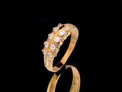 P492 Złoty pierścionek z cyrkoniami 585 /Jubi