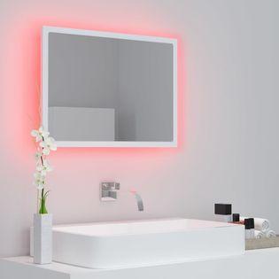 Lumarko Lustro łazienkowe z LED, białe, 60x8,5x37 cm, płyta wiórowa!