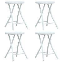 Składane stołki ogrodowe 4 szt. białe HDPE rattanowy wygląd VidaXL