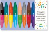 KREDKI PASTELOWE dwustronne 16 kolorów 8 szt DJECO