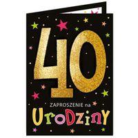 Zaproszenia na 40 urodziny BROKATOWE czarno złote