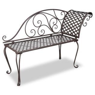 Metalowy szezlong do ogrodu z ozdobnym oparciem, brązowy