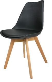 Skandynawskie krzesło KRIS FIORD z poduszką  czarne BUKOWE NOGI