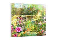 Obraz Na Szkle - Ogród Kwiaty Most - 50X50 Cm - Gac50X50-2906