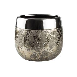 Doniczka Osłonka Ceramiczna MOON D 15 H 13 złota srebrna