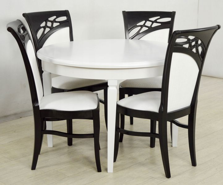 Zestaw Do Jadalni 4 Krzesła I Stół Okrągły Biały