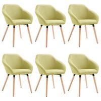 Krzesła do jadalni 6 szt. zielone tapicerowane tkaniną VidaXL