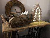 Ozdoba drewniana choinka LED 1j 35cm zdjęcie 3