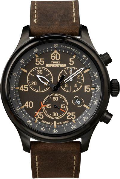 Zegarek męski Timex Expedition T49905 CHRONOGRAF WR100 pasek skórzany zdjęcie 1