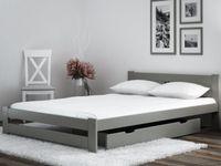 Łóżko wysoki zagłówek ESM2 140x200 szare + stelaż