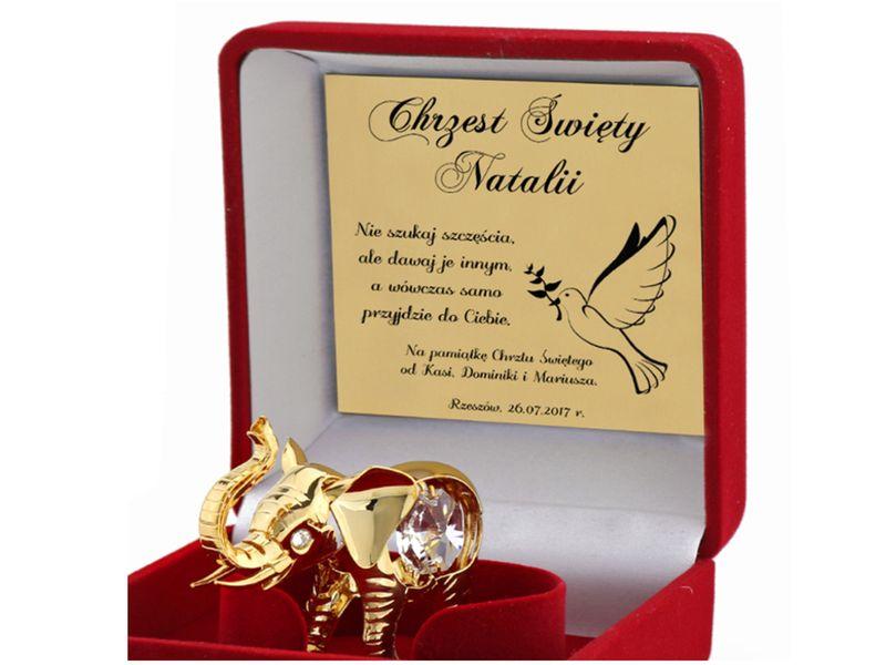 Pozłacany słonik SWAROVSKI prezent na ŚWIĘTA GRAWER zdjęcie 4