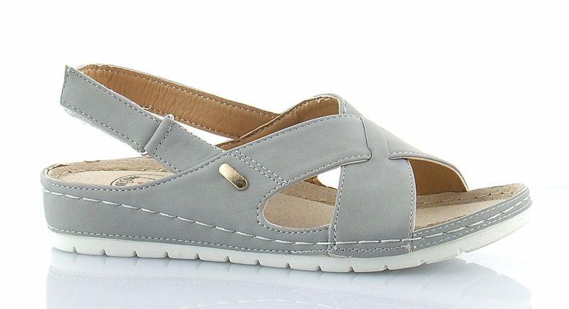 Sandały damskie wygodne płaskie modne szare