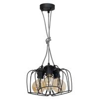 Lampa wisząca VINTAGE Milagro 3xE27 Vintage 3  -  klosz matowy czarny (kabel w szarym oplocie)