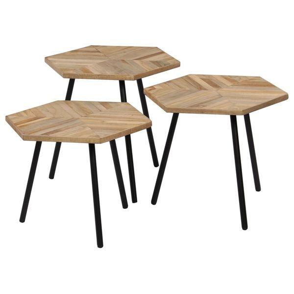 Stół Stolik Stoliki Kawowe Drewniane Sześciokątne Brązowe 3 Sztuki Zestaw
