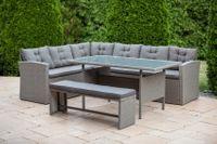 Zestaw mebli ogrodowych - narożnik, ławka i stolik MEXICO szary