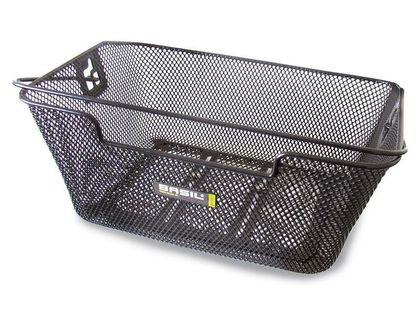 Kosz na tylny bagażnik BASIL CAPRI FLEX + haczyki mocujące Bottom hooks, stalowy czarny