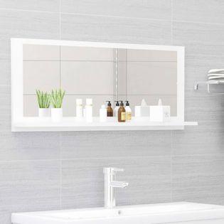 Lumarko Lustro łazienkowe, wysoki połysk, białe, 90x10,5x37 cm, płyta