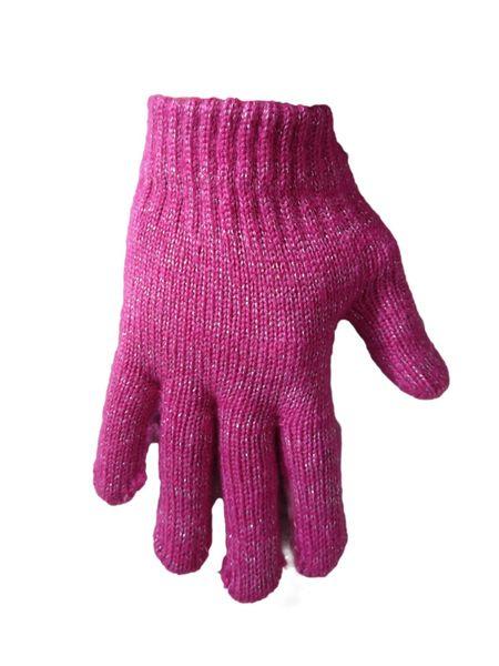 1 Kiddy rękawiczki 5-palczaste dziewczęce różowe ze srebrną nitką zdjęcie 1