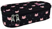 Piórnik DUŻY XL szkolny ST.RIGHT czarny w różowe kotki, MEOW PC2 (17348)