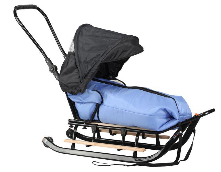 SANKI dla dzieci z budką (czarne) +śpiwór + pchacz + podnóżki + kółka zdjęcie 4