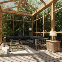 VidaXL 10-cz. ogrodowy zestaw wypoczynkowy, poduszki, rattan PE, szary