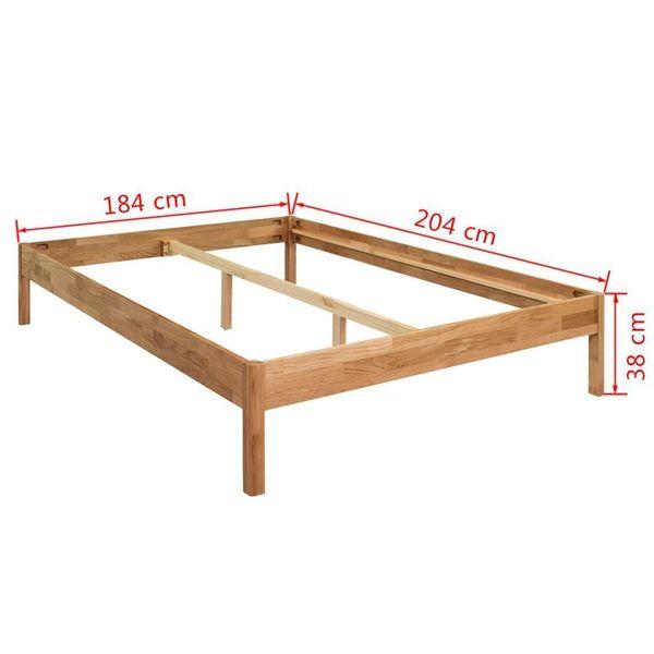 łóżko Rama łóżka Z Materacem 180x200 Drewniane Dąb