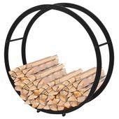 Okrągły stojak, kosz na drewno kominkowe