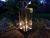 Lampion Duży chromowany lustrzany 56 cm