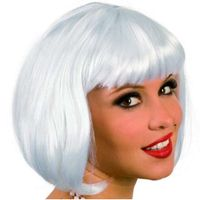 krótka PERUKA biała BOB grzywka białe włosy proste