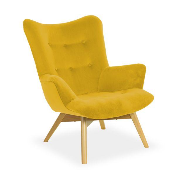 Fotel ANGEL żółty uszak tapicerowany HIT ! zdjęcie 1
