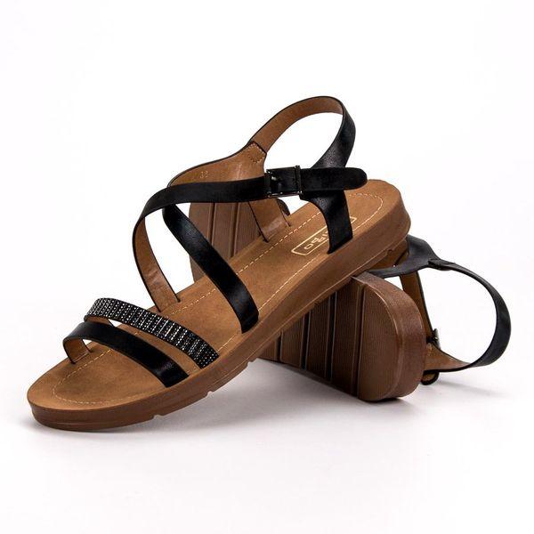 Czarne Sandały Z Kryształkami r.38 zdjęcie 4