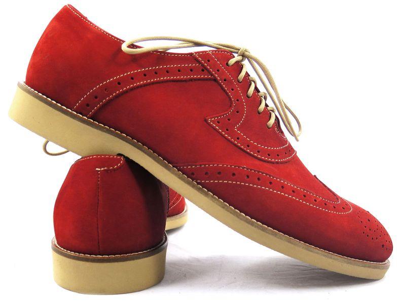 540f09d2 Czerwone zamszowe półbuty męskie - brogsy z beżowymi elementami T15 Rozmiar  Obuwia - 41 zdjęcie 4