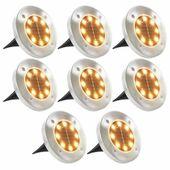 LAMPY LAMPKI SOLARNE GRUNTOWE 8 SZTUK BIAŁE LED