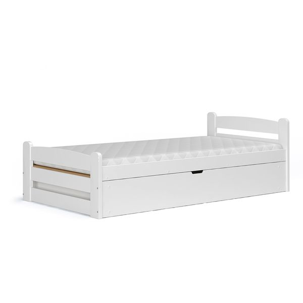 Białe łóżko Dziecięce Z Drewna Dragon 90x200 Z Pojemnikiem I Materacem
