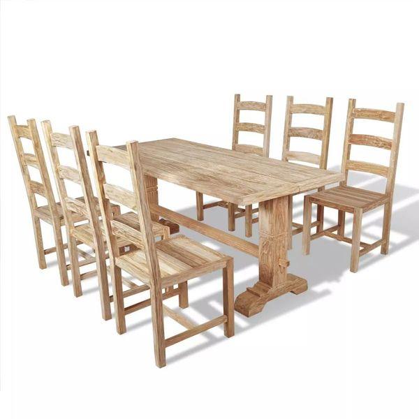 Zestaw Mebli Do Jadalni 7 Elementów Stół I Krzesła Drewno Tekowe