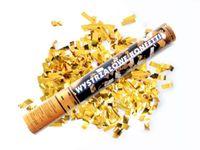 Strzelająca tuba KONFETTI złote metaliczne 40 cm