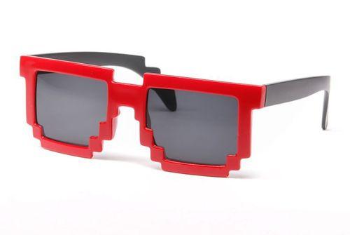 Pikselowe okulary 8 bit pixel - czerwone na Arena.pl