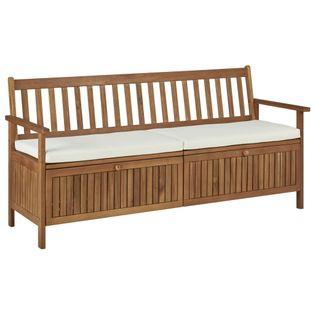 Ławka ze schowkiem i poduszką, 170 cm, lite drewno akacjowe