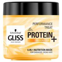 Gliss Protein+ Maska Odżywiająca (4W1)-  Do Włosów Zniszczonych I Cienkich - Z Proteinami Soi I Masłem Shea  -  400 Ml
