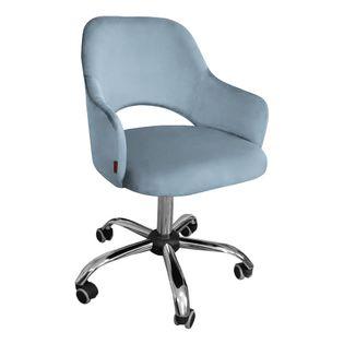 Fotel obrotowy MARCY / srebrno-niebieski / noga chrom / BL06