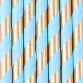 SŁOMKI papierowe błękitne złote CHROM urodziny 12