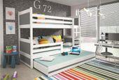 Łóżko meble dla dzieci drewniane Mateusz 190x80 piętrowe 3osobowe zdjęcie 5