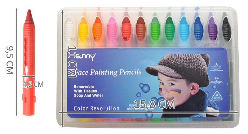 Kredki Do Malowania Twarzy Dzieci Kibic 12 Kolorów 6608 zdjęcie 3